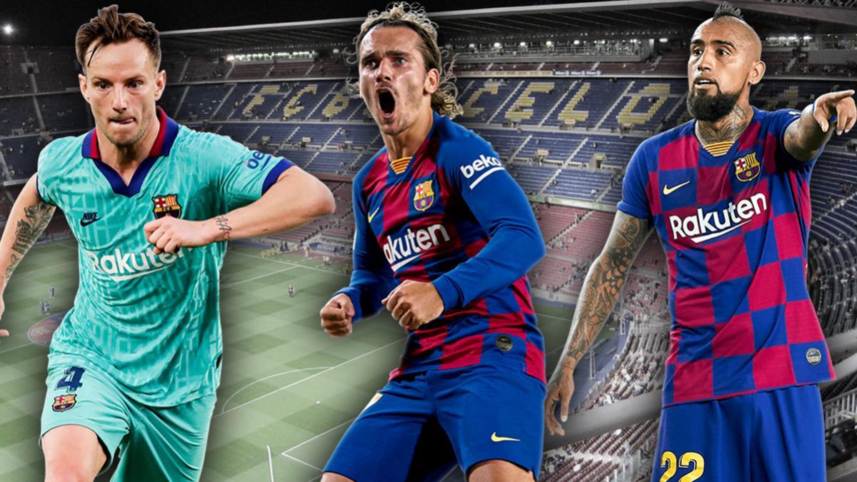 Ivan Rakitic, Antoine Griezmann und Arturo Vidal (v.l.n.r.) könnten Barça verlassen