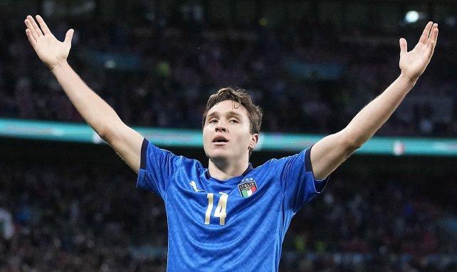 Federico Chiesa feiert seinen Halbfinal-Treffer gegen Spanien