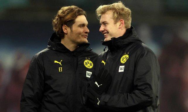 BVB-Trainer Edin Terzic (l.) mit Schützling Julian Brandt