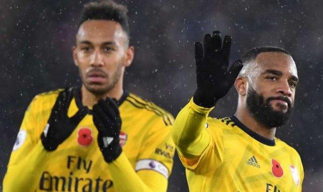 Aubameyang et Lacazette, ici lors du match face à Leicester, pourraient dire au revoir à Arsenal