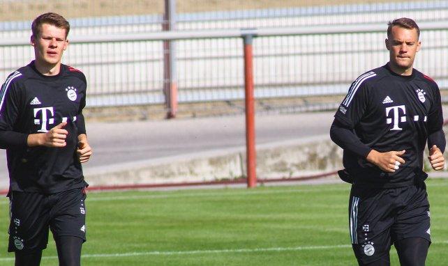 Alexander Nübel und Manuel Neuer beim gemeinsamen Training