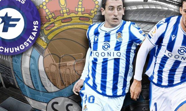 Mikel Oyarzabal (l.) und David Silva (r.) gestalten das Spiel von Real Sociedad