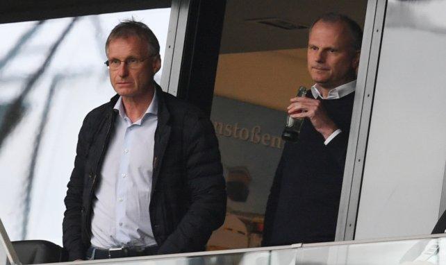 Schalkes Technischer Direktor Michael Reschke (l.) und Sportvorstand Jochen Schneider