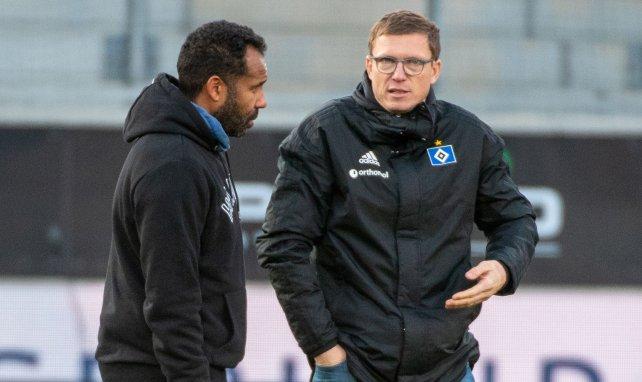 HSV-Trainer Daniel Thioune (l.) mit Sportdirektor Michael Mutzel