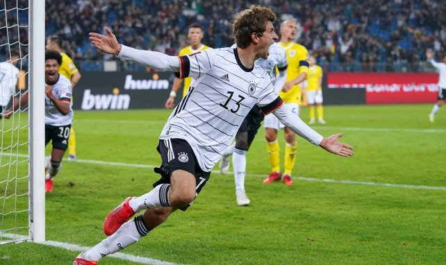 Thomas Müller beim Torjubel gegen Rumänien
