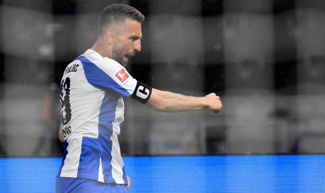 Vedad Ibisevic jubelt über ein Tor für Hertha BSC